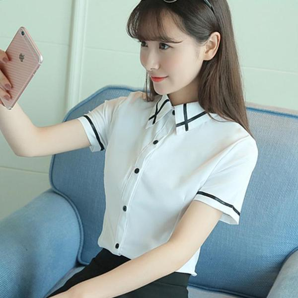 Spring and summer new white shirt female short-sleeved professional decoration body was thin wild horn sleeve chiffon shirt sleeves shirt