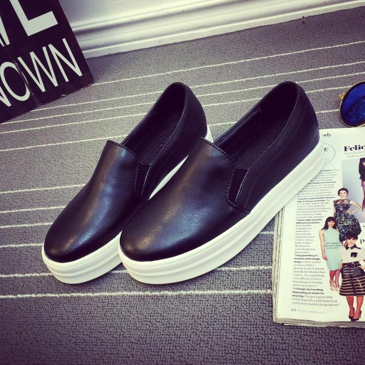 脚蹬真皮懒人增高女鞋板鞋松糕鞋黑色 乐福鞋