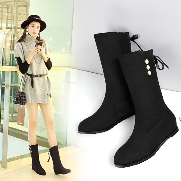 2017 new knights boots women's boots autumn and winter boots in the boots flat boots with low boots women's flat shoes