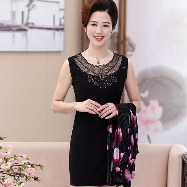 Middle-aged large size sleeveless vest skirt mother packs hip-tattoo dresses summer dress
