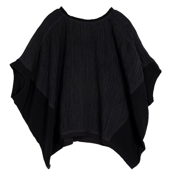【6.19新品限時135】可然出品 相言/輕薄肌理亞麻 拼貼寬松T恤女