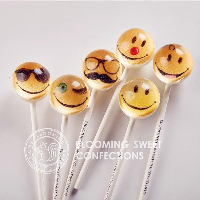 美国bloomingsweet创意笑脸棒棒糖6只装