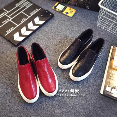 韩国休闲鞋女厚底乐福鞋内增高帆布鞋女鞋新款懒人鞋圆头松糕板鞋