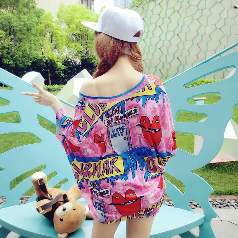 2016夏季韩版蝙蝠袖宽松圆领卡通连衣裙 嘻哈风涂鸦印花显瘦T恤裙