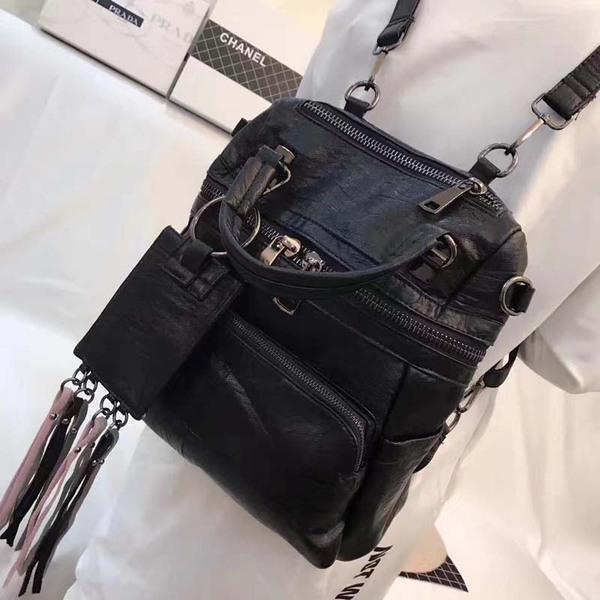 Leather handbags Korean version of the leisure multi-purpose large-capacity soft leather shoulder bag sheepskin fringed handbag shoulder Messenger bag