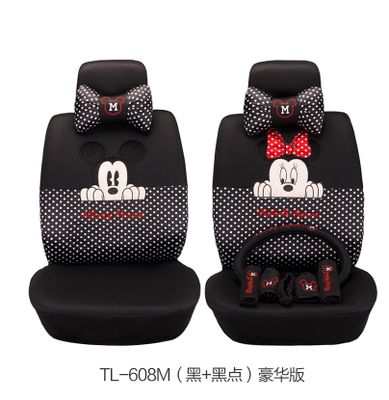 on sale mickey minnie mouse car seat covers cushion accessories set 18pcs black ebay. Black Bedroom Furniture Sets. Home Design Ideas