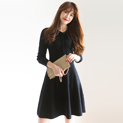 美貌与品质兼具 飘带款100%羊毛针织修身连衣裙 带质检报告