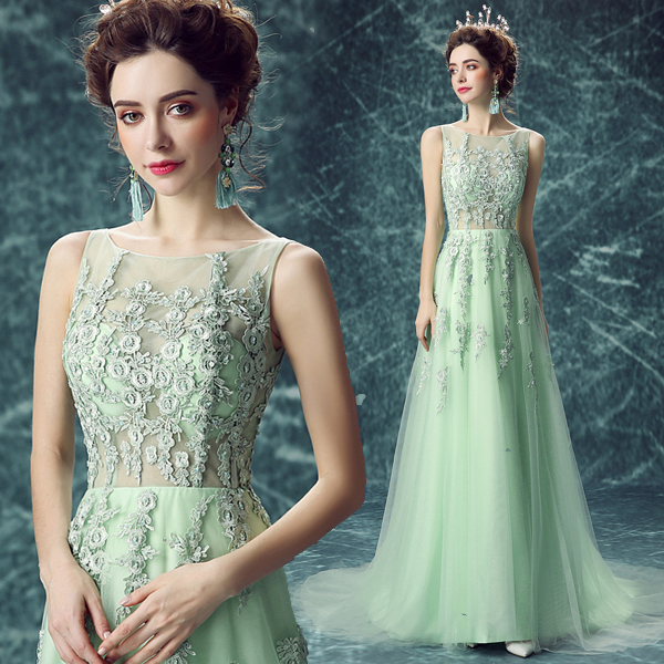 Angel wedding dress green perspective bride wedding dress long wedding banquet tasting spring 10075