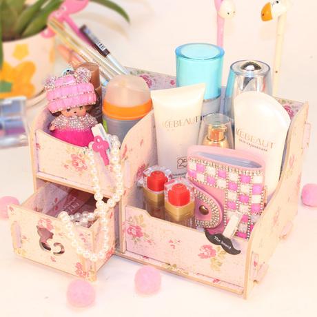 【天天特价】桌面木质化妆品收纳盒收纳架带抽屉韩版创意DIY