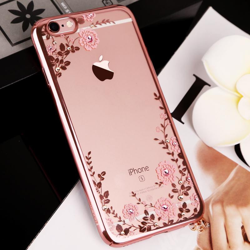 新款苹果6s手机壳玫瑰金 iphone6奢华水钻壳女plus手机套防摔硬壳