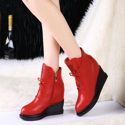 2015秋冬季女靴加绒马丁靴女英伦坡跟短靴内增高圆头真皮短筒棉靴