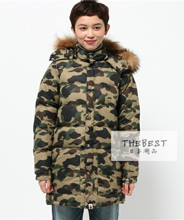 日本代购 BAPE 1ST CAMO LONG DOWN JACKET 迷彩羽绒夹克 15AW