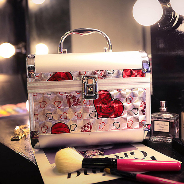 High - grade aluminum alloy hand - made cosmetics case professional Korean cosmetic case cosmetic bag large - capacity cosmetics package