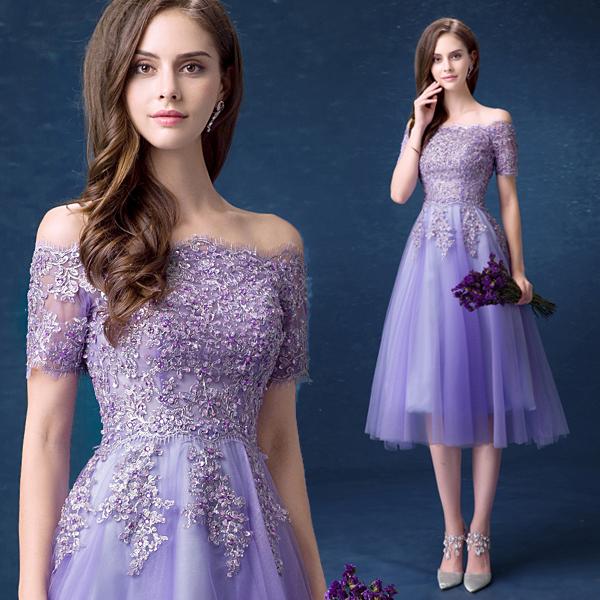 Angel wedding dress purple bride toast service bridesmaid dress short dinner party wedding dress spring 299