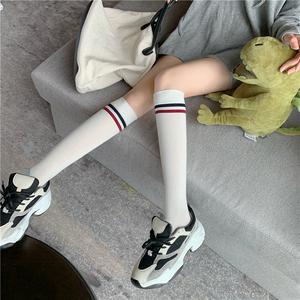实拍?#23548;?#31179;冬新款全棉小腿袜二杠学院风半筒袜中筒袜子显瘦