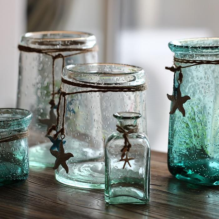 气泡海洋清新玻璃多肉花瓶花器-多肉花盆网