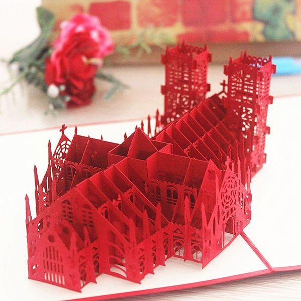 英國威米斯特大教堂立體賀卡 3D手工紙雕結婚禮物用品祝福卡片
