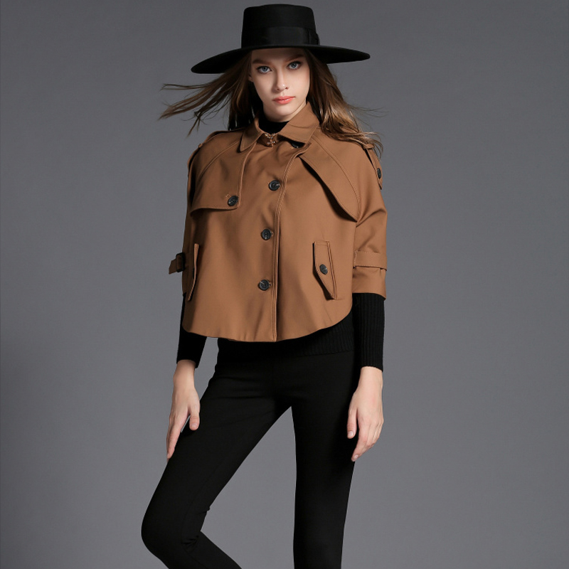 欧洲站2015秋季女装优雅复古高贵气质蝙蝠斗篷款风衣短外套