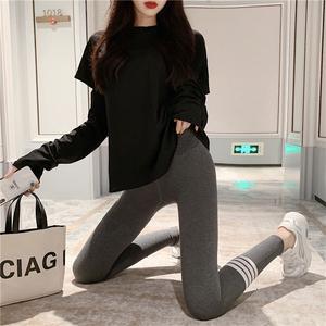 實拍實價條紋純棉顯瘦外穿打底褲新款運動帶夜光日系九分褲