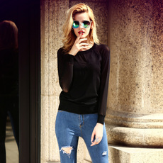 秋季新品显瘦保暖针织衫搭配牛仔裤短款百搭打底衫