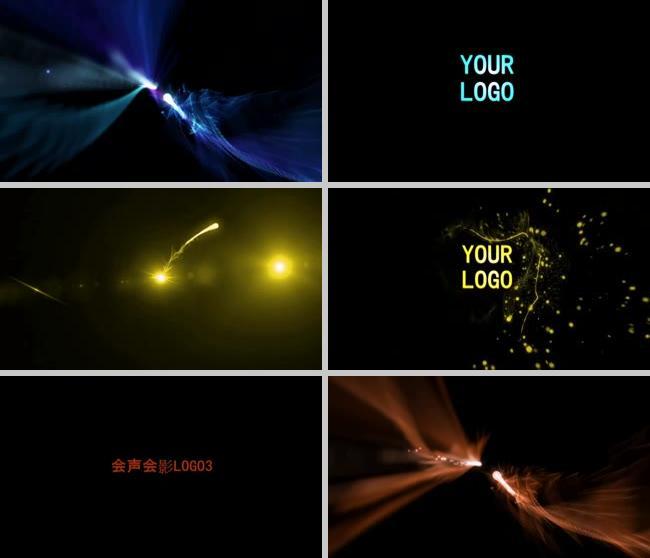 会声会影彩色粒子logo片头视频光效粒子标志LOGO演绎片头视频