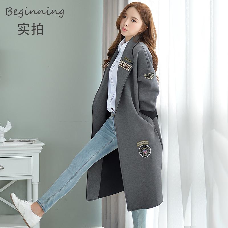 韩版秋冬新款字母太空棉中长款棒球服bf风衣外套宽松茧型大衣女潮