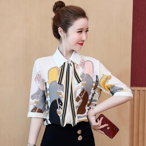 蝴蝶結襯衫女短袖2020夏季新款設計感小眾復古氣質有垂感雪紡上衣
