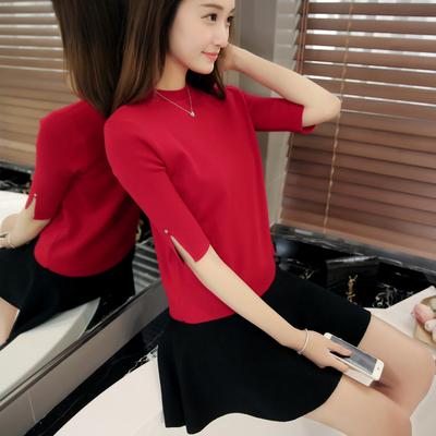 包邮 2016春装新款韩版女装毛衣中袖纯色针织衫