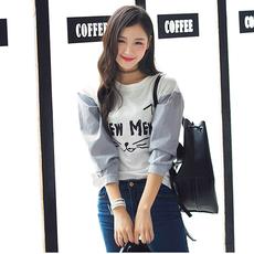 衣小田韩系女主角秋季搭配首选可爱印花拼接条纹袖卫衣T恤