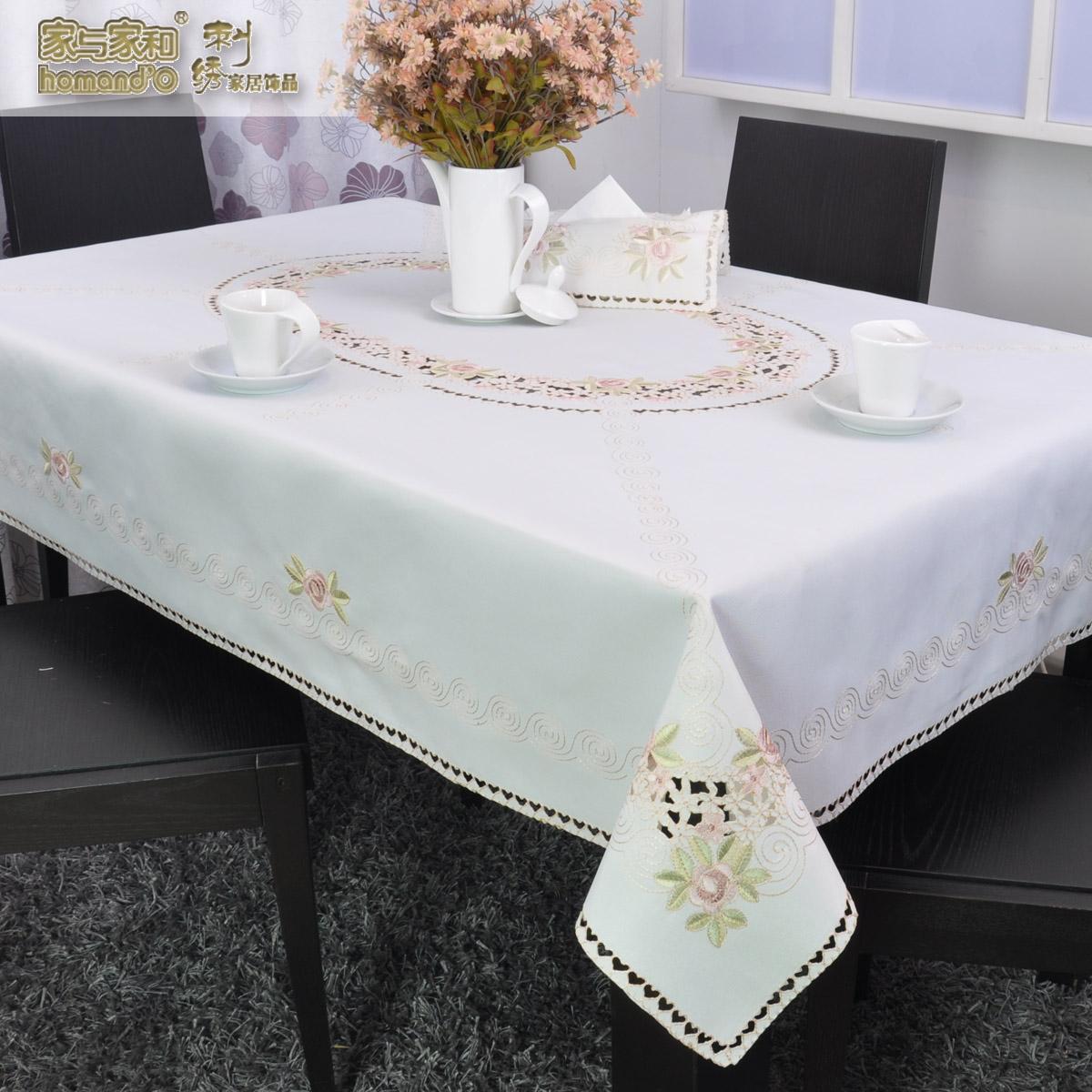 欧式田园镂空绣花餐桌布布艺桌旗椅套圆形正方形茶几布方桌布盘垫价图片