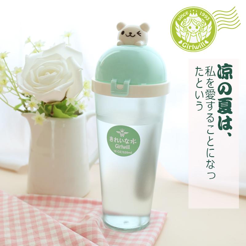 韩版卡通磨砂透明便携水杯 学生可爱带盖塑料杯子时尚个性送女生价格