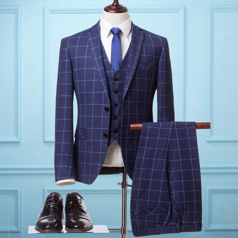 西服套装男士三件套新郎结婚礼服韩版修身格子西装大码商务休闲秋价图片
