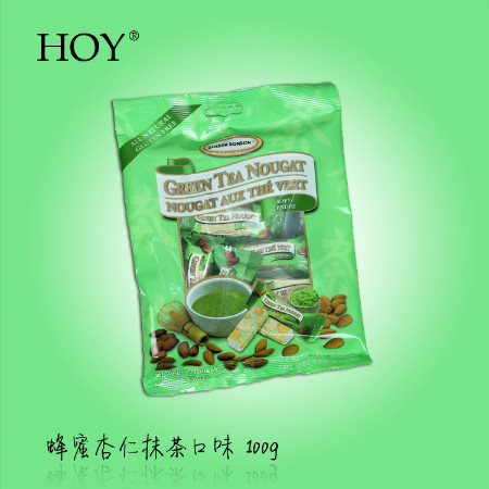 加拿大进口糖果零食 金棒棒Golden bonbon杏仁松软抹茶牛轧糖100g