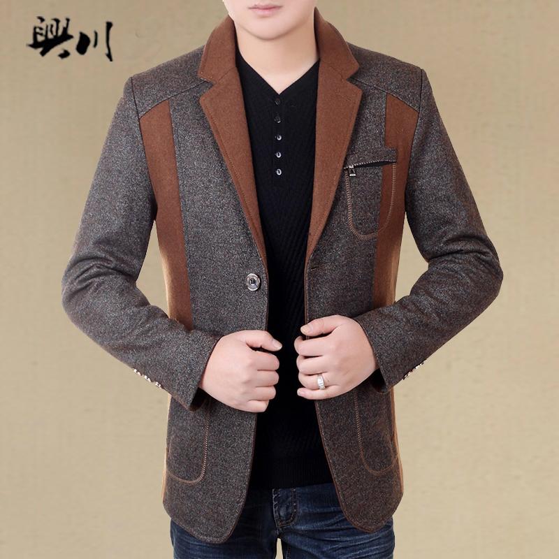 2015秋季夹克外套男士爸爸男装中年大码韩版修身茄克春秋薄款上衣