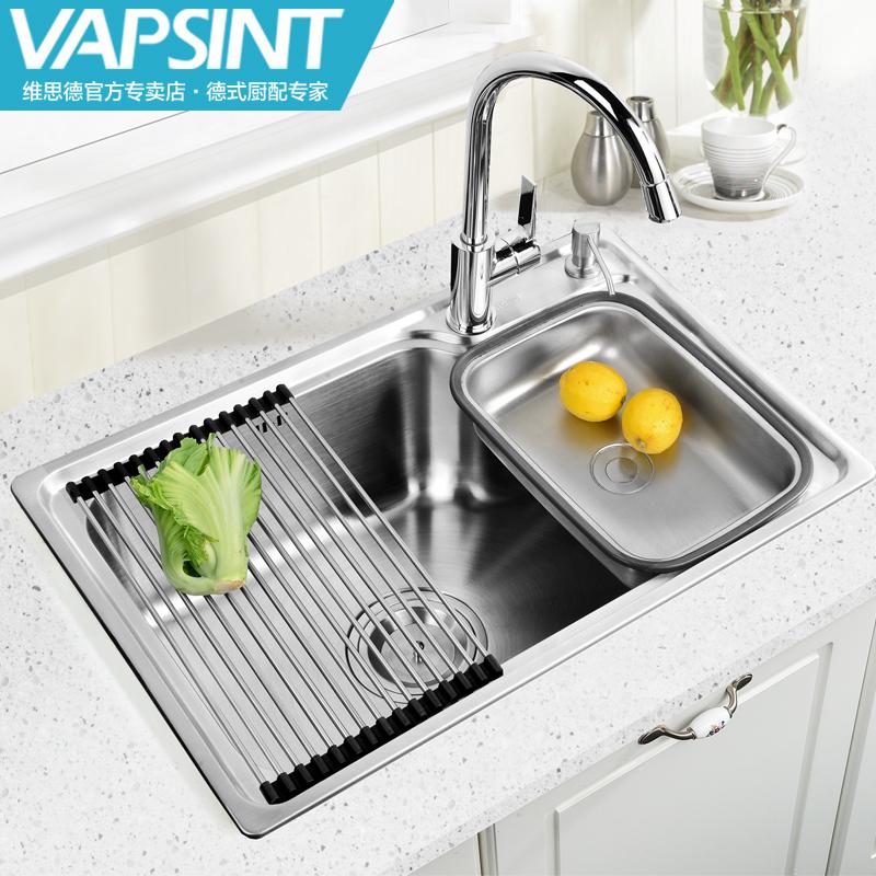 店官网 维思德厨房水槽单槽套餐304不锈钢加厚洗菜盆大户型水池水