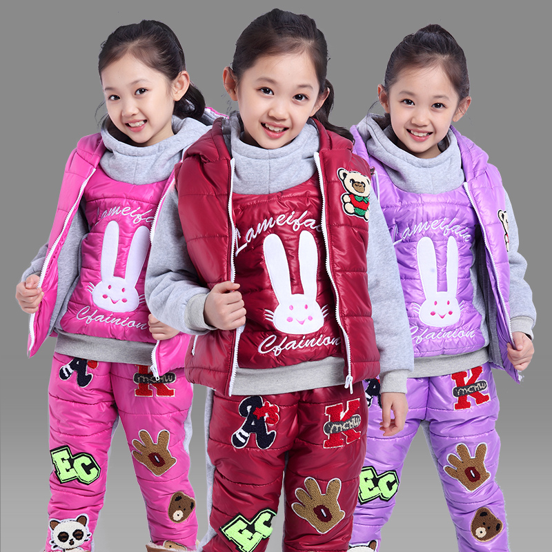 装女童加绒加厚卫衣套装男童童装棉衣三件套儿童厚冬装图片