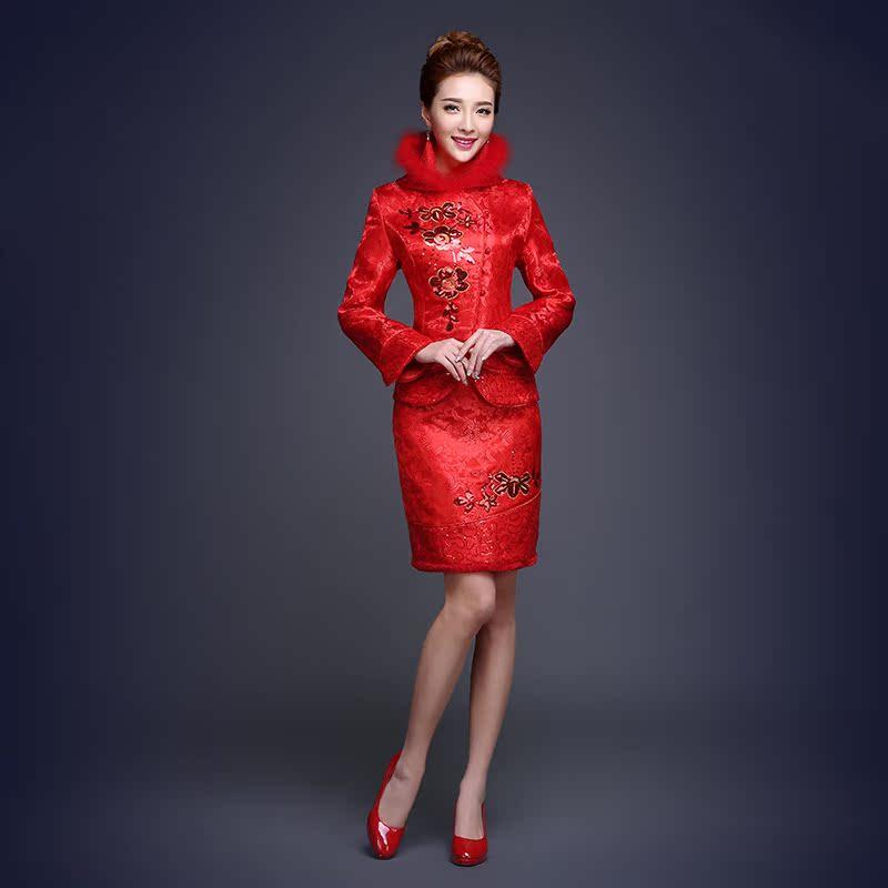 冬季敬酒服新娘时尚2015新款长袖结婚旗袍冬装加厚礼服短款红色女价图片