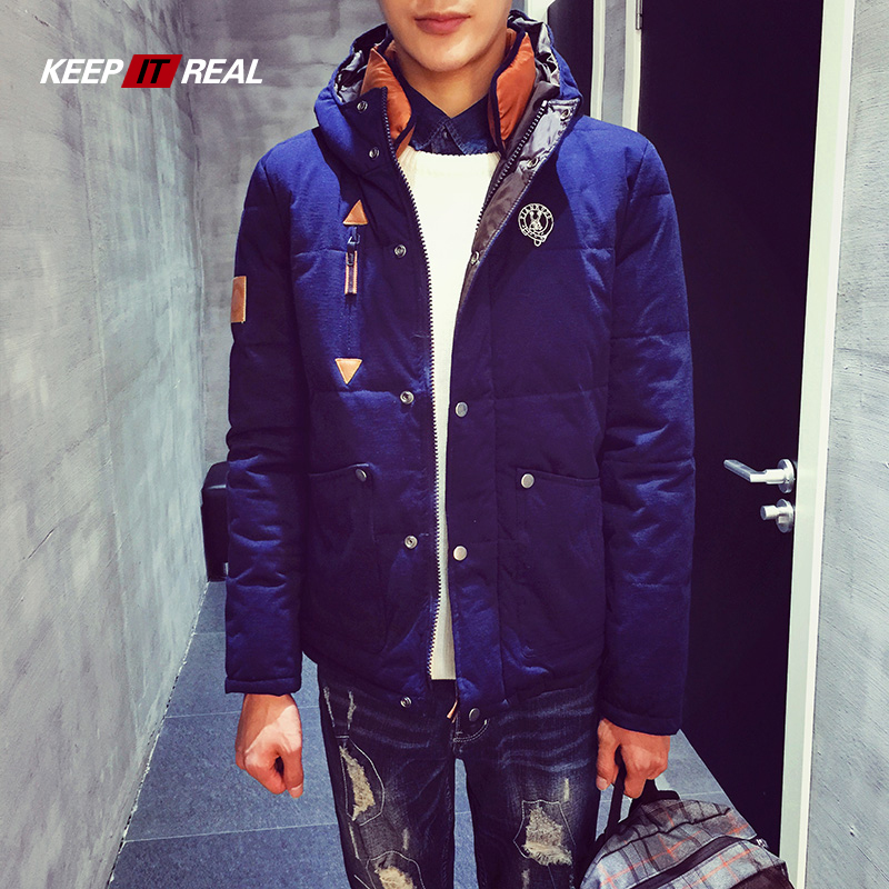 KEEPITREAL2015秋冬男士时尚棉衣韩版修身连帽棉衣男加厚外套男潮