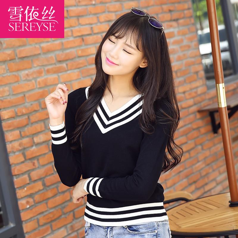 2015秋冬季V领毛衣女长袖学院风针织打底衫短款条纹修身套头衫价格
