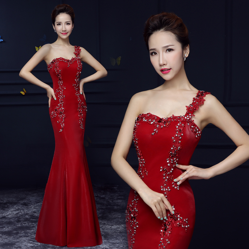 新款 镶钻长款晚装敬酒礼服新娘时尚高腰单肩红色图片