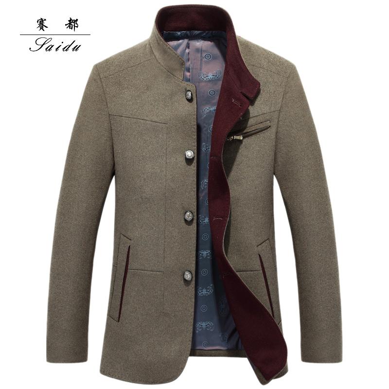 冬装男士羊毛呢外套中年羊毛夹克男立领修身休闲爸爸装价格:$