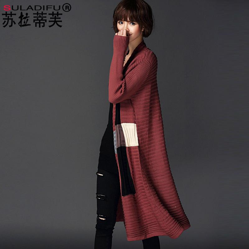 冬女式长款毛衣外套加厚针织羊毛开衫披肩韩版OL大码时尚潮