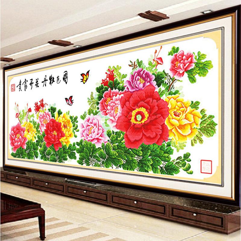 印花十字绣六尺牡丹新款客厅花开富贵牡丹花2米十字绣国色牡丹图价图片