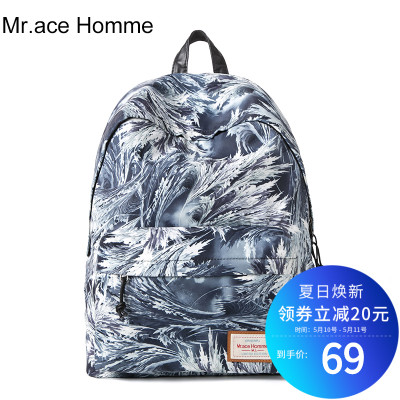 Mr.ace Homme印花双肩包女韩版潮休闲背包旅行背包中学生书包男
