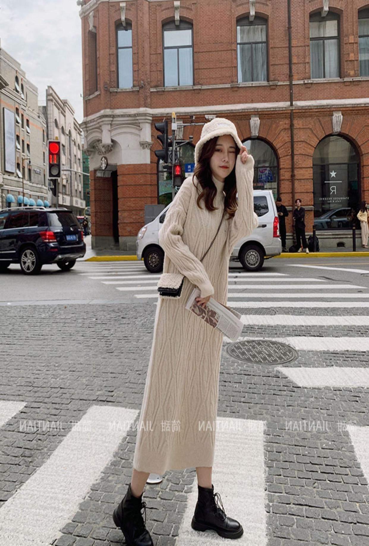 中國代購 中國批發-ibuy99 配的搭打底针织内法式大衣2020年新款香风小连衣裙子女秋冬季毛衣