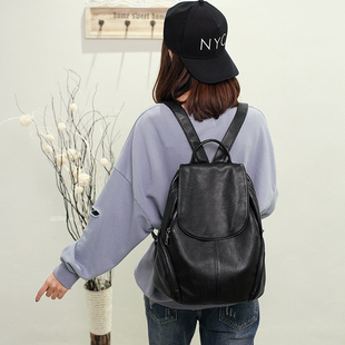 真皮软皮包包2018新款韩版双肩包女时尚休闲旅行百搭大容量背包潮
