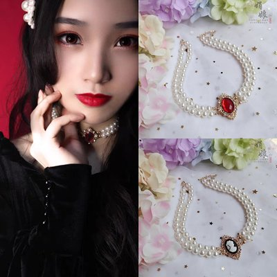 taobao agent Retro Palace Lolita Girl Clavicle Chain Gorgeous Flower Wedding Pearl Gem Necklace Daily European-style Wild Jewelry