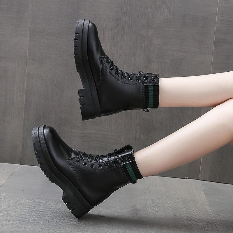 马丁靴女软皮中跟2020秋冬新款靴子女粗跟厚底英伦风春秋单靴短靴