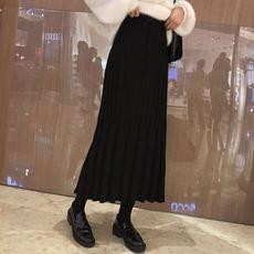 299#复古秋冬时尚百搭高腰百褶包芯纱厚显瘦半身针织裙 实拍