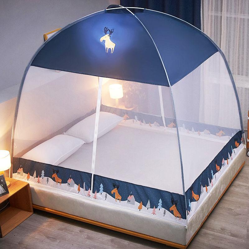 新款蒙古包蚊帐免安装1.8m床1.5m支架家用防摔儿童1.2米纹帐子